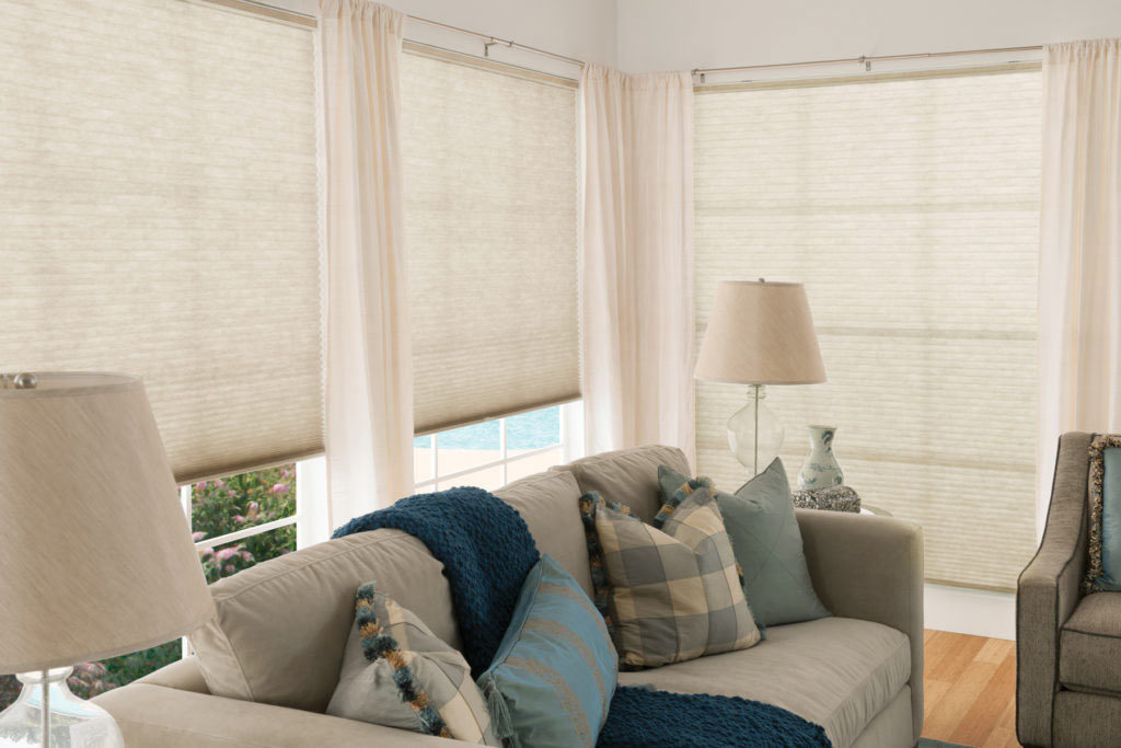 Cellular Shades with Drapes for Living Room Windows Near Boise & Eagle, Idaho (ID), Light Control