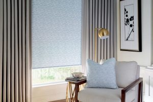 Design Studio™ Roller Shades with Side Panels and Drapery for Bedrooms Near Boise, Idaho (ID)