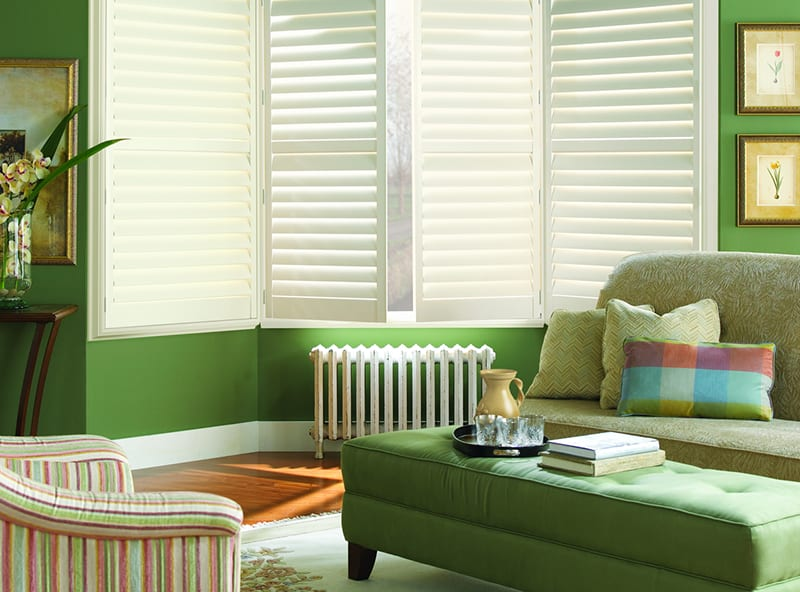 Custom Hunter Douglas Plantation Shutters for Homes Near Star, Idaho (ID) Living Rooms like Palm Beach